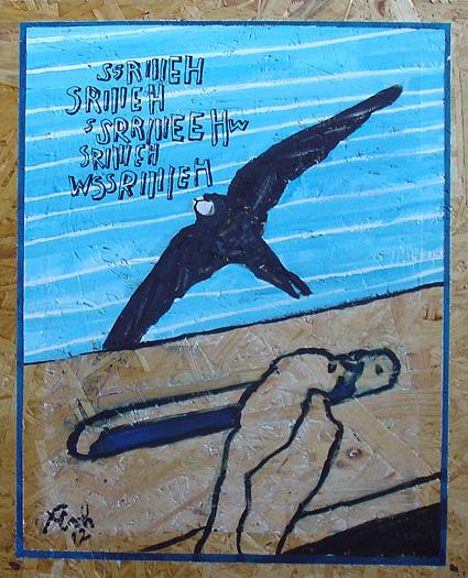 Mauersegler: 40 x 49 cm, Acryl auf Spanplatte, 2012
